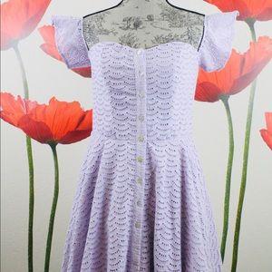 GB Lilac Off Shoulder Eyelet Fit & Flare Dress